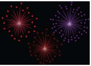Fireworks set to glow with hearts and stars on a black background