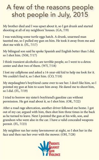 few reasons people shot people