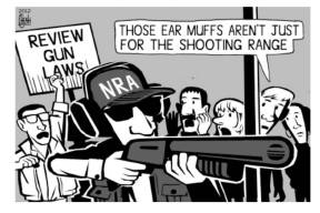 NRA with ear muffs