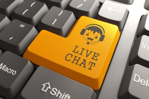 Live Chat on Orange Keyboard Button.
