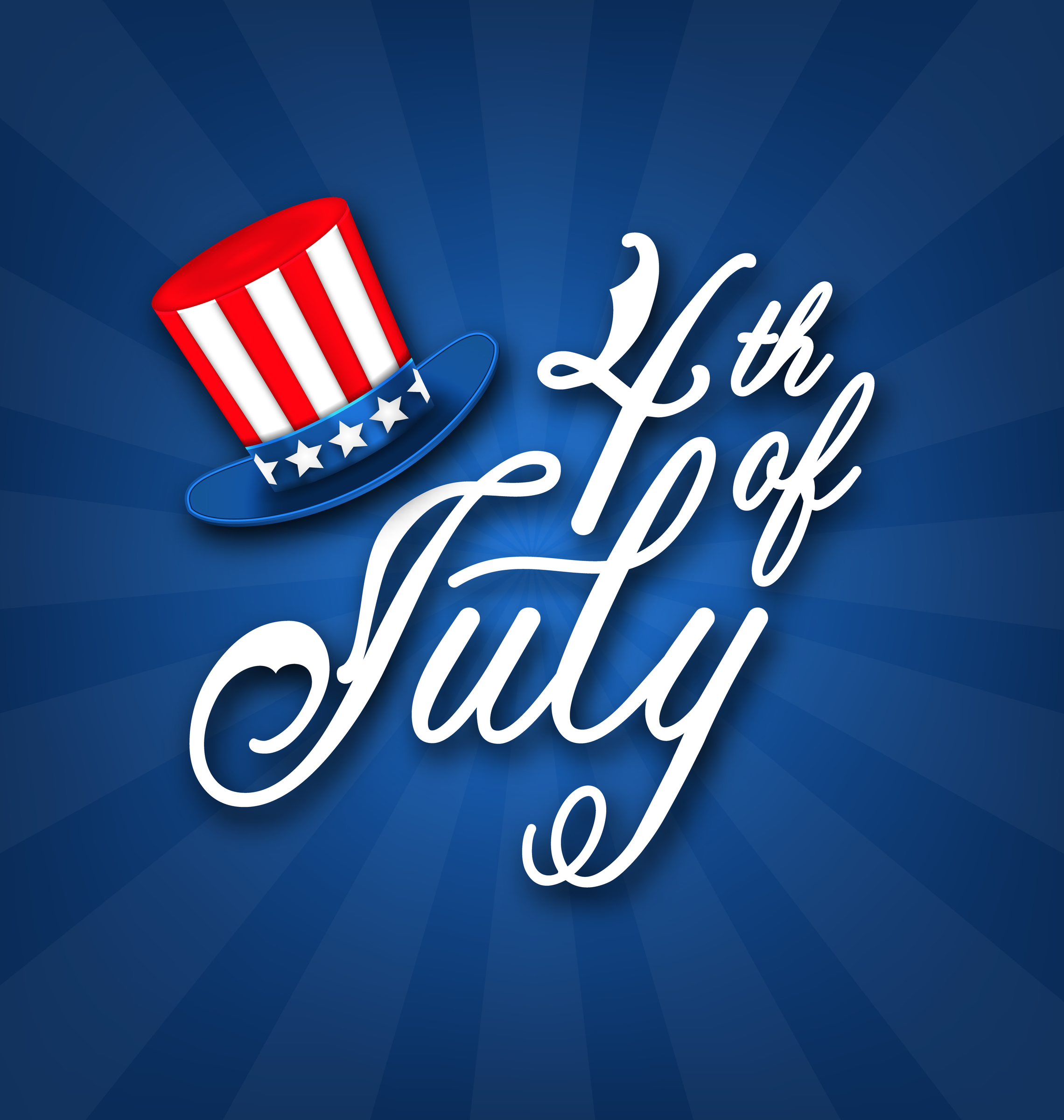 Happy 4th of July Card, Traditional American Banner