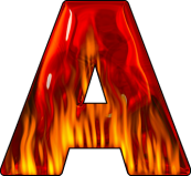 letter A in flames