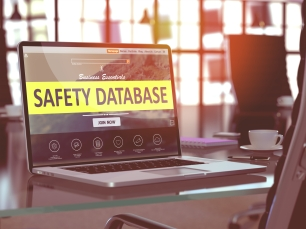 Laptop Screen with Safety Database Concept.
