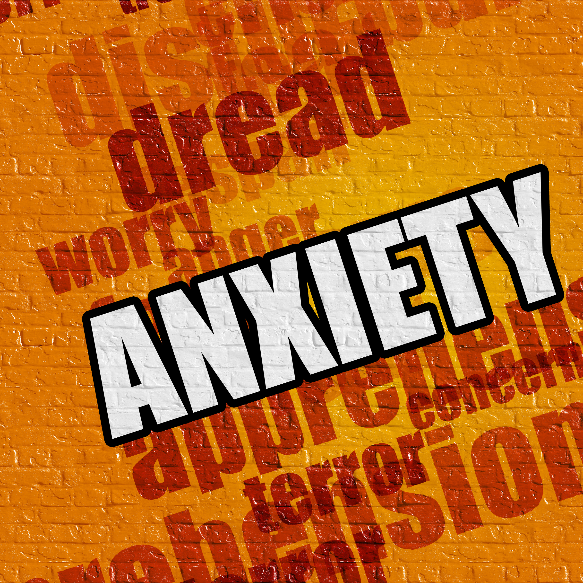 Modern medicine concept: Anxiety on Yellow Brickwall .